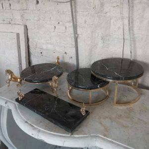 ظروف پذیرایی سنگ مرمر پایه برنز